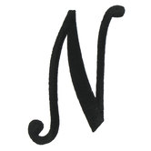 Embroidered Iron-On Script Letter N - 3""